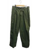 kolor/BEACON(カラービーコン)の古着「COATED コットンユーティリティパンツ」 オリーブ