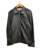 BURBERRY BLACK LABEL(バーバリーブラックレーベル)の古着「ラムレザーシングルジャケット」|ブラック