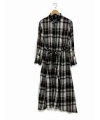 Mila Owen(ミラオーウェン)の古着「チェックパターンシャツワンピース」|グレー×ブラック