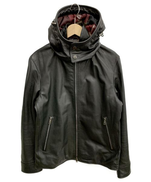 BLACK LABEL CRESTBRIDGE(ブラックレーベルクレストブリッジ)BLACK LABEL CRESTBRIDGE (ブラックレーベルクレストブリッジ) シンセティックレザーパーカ ブラック サイズ:Lの古着・服飾アイテム