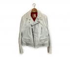 ()の古着「シングルレザーライダースジャケット」|ホワイト