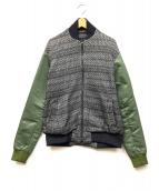 yoshio kubo(ヨシオクボ)の古着「ニット切替MA-1ジャケット」|ブラック×カーキ