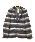 BLUE PORT(ブルーポート)の古着「シャギーボーダージャケット」 グレー×ブラック