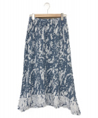 me ISSEY MIYAKE(ミーイッセイミヤケ)の古着「シワ加工ミモレ丈スカート」|ブルー