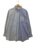 INDIVIDUALIZED SHIRTS(インディビジュアライズドシャツ)の古着「クレイジーパターンストライプシャツ」|ブルー×ホワイト