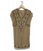 GRACE CONTINENTAL(グレースコンチネンタル)の古着「刺繍ワンピース」|ベージュ