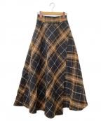 Mila Owen(ミラオーウェン)の古着「斜め切替フレアスカート」|ブラウン×ブラック