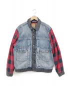 LEVI'S(リーバイス)の古着「TYPEⅡ HYBRIDトラッカージャケット」|インディゴ×レッド×ブラック