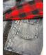 中古・古着 LEVI'S (リーバイス) TYPEⅡ HYBRIDトラッカージャケット インディゴ×レッド×ブラック サイズ:M(US) / L(JP):6800円