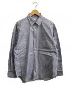 H BEAUTY&YOUTH(エイチ ビューティアンドユース)の古着「バルーンスリーブレギュラーカラーシャツ」|ブルー