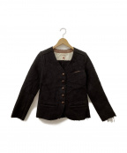 BACCA(バッカ)の古着「ノーカラーウールジャケット」|ブラウン