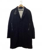 sage de cret(サージュデクレ)の古着「牛革使いチェスターコート」|ネイビー×ブラック