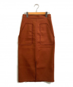 YORI(ヨリ)の古着「フリンジタイトスカート」|ブラウン