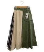 ROSE BUD(ローズバッド)の古着「異素材ランダムヘムスカート」 グリーン×ベージュ