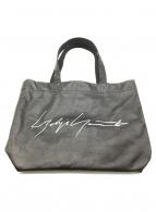 YOHJI YAMAMOTO(ヨウジヤマモト)の古着「ロゴプリントレザートートバッグ」|ブラック