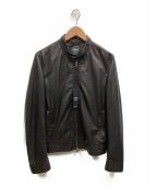 EMMETI(エンメティ)の古着「シングルレザーライダースジャケット」 ブラック