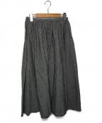 休日と詩(キュウジツトウタ)の古着「リネン混スカート」|グレー