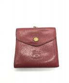 IL BISONTE(イルビゾンテ)の古着「ガマ口レザー2つ折り財布」|ボルドー