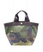 Herve Chapelier(エルベシャプリエ)の古着「舟形ハンドバッグ」|ブラウン×グリーン