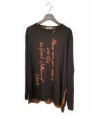 YOHJI YAMAMOTO(ヨウジヤマモト)の古着「メッセージハギ長袖」|ブラック
