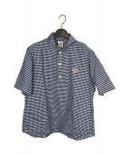 DANTON(ダントン)の古着「プルオーバーシャツ」|ブルー×ホワイト