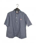 DANTON()の古着「プルオーバーシャツ」 ブルー×ホワイト