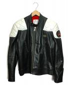 Lewis Leathers(ルイスレザーズ)の古着「シングルライダースジャケット」|ブラック×ホワイト