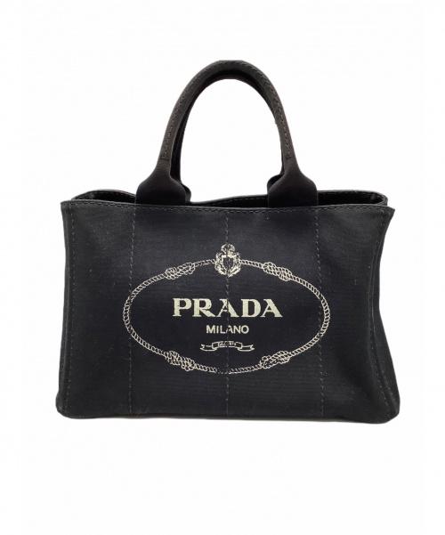 PRADA(プラダ)PRADA (プラダ) キャンバストートバッグ ブラック カナパの古着・服飾アイテム