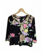 LEONARD(レオナール)の古着「花柄Vネックカットソー」|ブラック