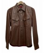 THE FLAT HEAD(ザフラットヘッド)の古着「ラムスキンレザーシャツ」|ブラウン