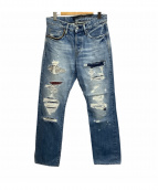 ()の古着「ダメージ加工デニムパンツ」 ブルー