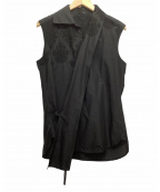Y's(ワイズ)の古着「カシュクール レース装飾ノースリーブブラウス」 ブラック