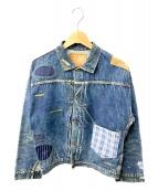 WAREHOUSE(ウェアハウス)の古着「リメイクデニムジャケット」|ブルー