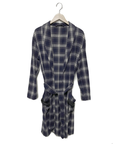 AMERICAN RAG CIE(アメリカンラグシー)AMERICAN RAG CIE (アメリカンラグシー) ガウンコート ネイビー サイズ:2 チェックの古着・服飾アイテム
