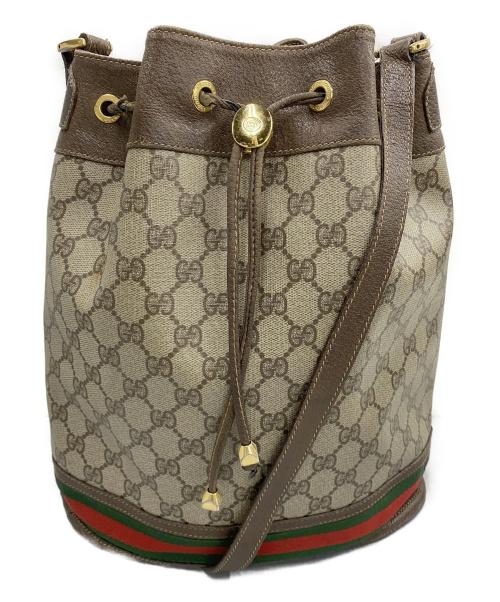 GUCCI(グッチ)GUCCI (グッチ) 巾着ショルダーバッグ ブラウン シェリーライン 164・02・085 GG ■の古着・服飾アイテム