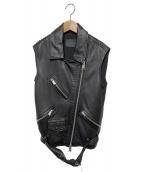 ALL SAINTS(オールセインツ)の古着「オーバーサイズドスリーブレスバイカージャケット」|ブラック