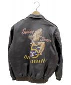 AVIREX(アヴィレックス)の古着「バックプリントレザージャケット」|ブラウン