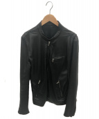 LITHIUM HOMME(リチウム オム)の古着「カウレザーシングルライダースジャケット」|ブラック
