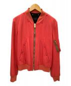 Paul Smith(ポールスミス)の古着「トリアセテートギャバMA-1ジャケット」|ピンク