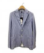 CIRCOLO 1901(チルコロ1901)の古着「コットンストレッチジャージーストライププリントジャケット」 スカイブルー