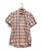 ARMANI EXCHANGE(アルマーニエクスチェンジ)の古着「半袖チェックシャツ」 ピンク×ネイビー