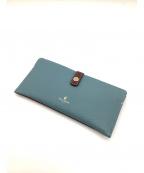 PELLE BORSA(ペレボルサ)の古着「ツートン長財布」 ブルー×ブラウン