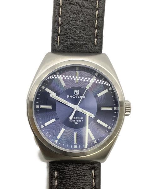PHOTONE(フォトン)PHOTONE (フォトン) 腕時計 ネイビー PTWG005-01 クォーツ 動作確認済み レザーの古着・服飾アイテム
