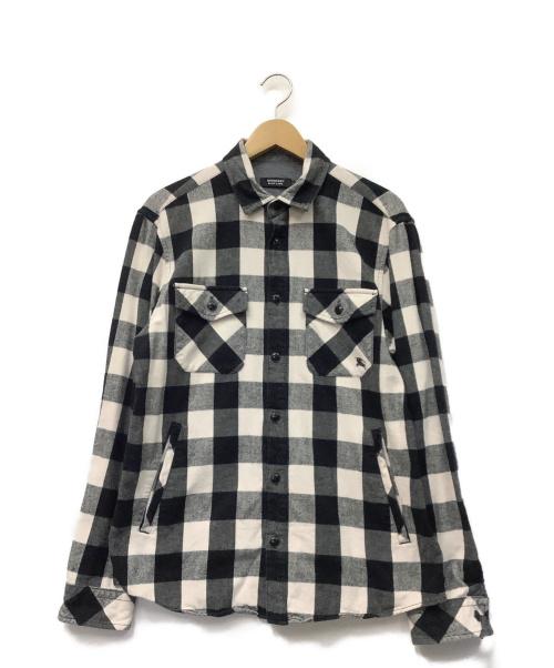 BURBERRY BLACK LABEL(バーバリーブラックレーベル)BURBERRY BLACK LABEL (バーバリーブラックレーベル) チェックシャツ ブラック×ホワイト サイズ:3の古着・服飾アイテム