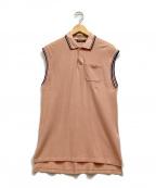 BALMAIN(バルマン)の古着「ノースリーブポロシャツ」 ピンク