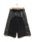 H&M(エイチ&エム)の古着「レザー切り替えハーフパンツ」|ブラック