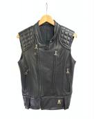 Roen(ロエン)の古着「ノースリーブレザージャケット」 ブラック
