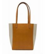 russet(ラシット)の古着「バイカラーレザートートバッグ」 オレンジ×ホワイト
