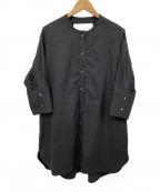 ticca()の古着「ノーカラーシャツ」 ブラック