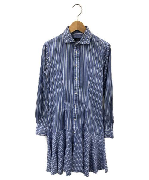 POLO RALPH LAUREN(ポロラルフローレン)POLO RALPH LAUREN (ポロラルフローレン) ストライプシャツワンピース スカイブルー サイズ:2 ストライプの古着・服飾アイテム